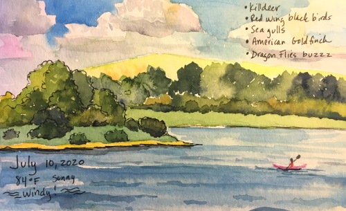 watercolor of the lake on a windy summer day