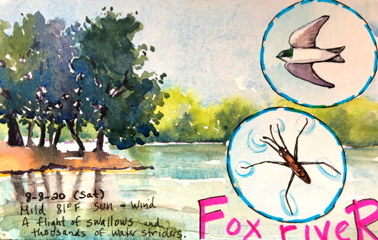 Watercolor sketch of the Fox River