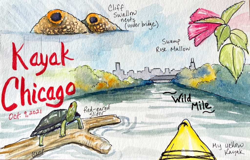 watercolor sketch of the Wild Mile - Chicago River by kayak